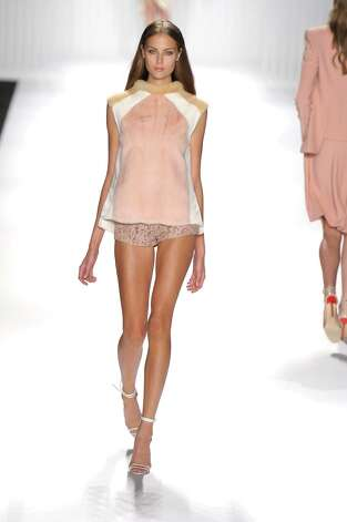 A model walks the runway during the J. Mendel show during Spring 2013 Mercedes-Benz Fashion Week>> at The Theatre Lincoln Center on September 12, 2012 in New York City. Photo: Etienne Tordoir, WireImage / 2012 Etienne Tordoir