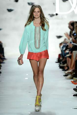 A model walks the runway at the Diane Von Furstenberg Spring 2013 fashion show during Mercedes-Benz Fashion Week on September 9, 2012 in New York City. Photo: Frazer Harrison, Getty Images For Mercedes-Benz / 2012 Getty Images