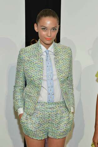 A model poses at the J.Crew Presentation during the Spring 2013 Mercedes-Benz Fashion Week at The Studio at Lincoln Center on September 11, 2012 in New York City. Photo: Mike Coppola, Getty Images For Mercedes-Benz F / 2012 Getty Images