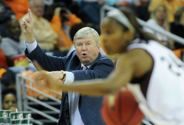 Texas A&M head coach Gary Blair directs traffic as guard Jordan Jones (24) brings the ball up the floor during the second half of an NCAA college basketball game against South Carolina at the Southeastern Conference tournament, Friday, March 8, 2013, in Duluth, Ga. (AP Photo/John Amis) Photo: John Amis, Associated Press / FR69715 AP