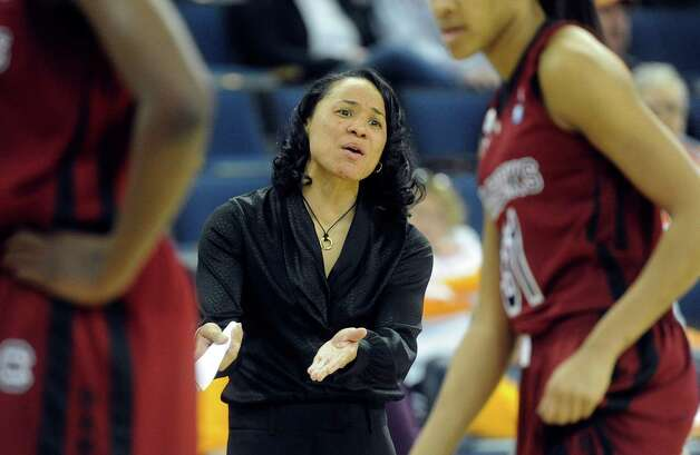 South Carolina head coach Dawn Staley motions to a referee during the second half of a NCAA college basketball game against Texas A&M in the Southeastern Conference tournament, Friday, March 8, 2013, in Duluth, Ga. (AP Photo/John Amis) Photo: John Amis, Associated Press / FR69715 AP