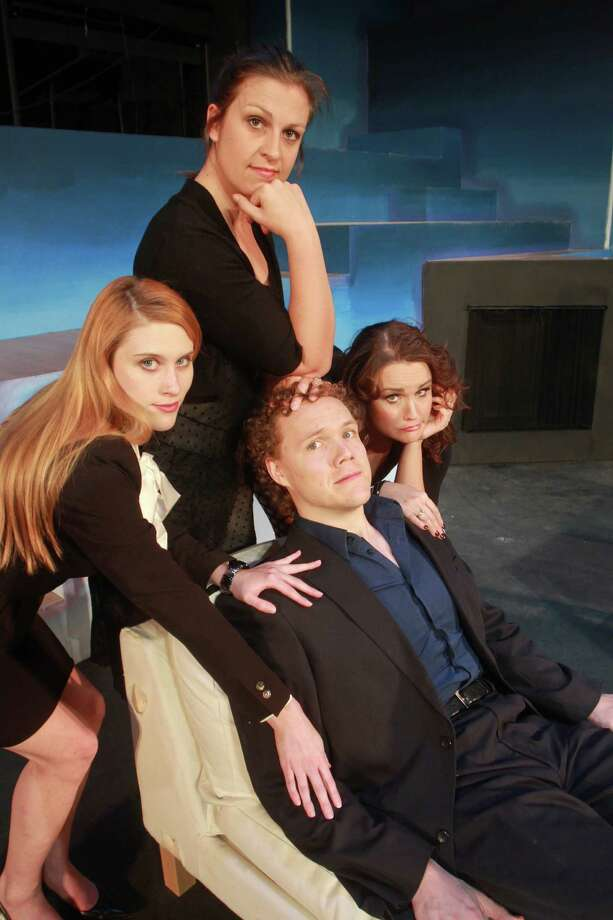 """(For the Chronicle/Gary Fountain, March 6, 2013) Haley Hussey as April, from left, Amy Buchanan as Kathy, and Christina Stroup as Marta, with Brandon Grimes as Bobby, in this scene from Texas Repertory Theatre's staging of the Stephen Sondheim musical """"Company."""" Photo: Gary Fountain, Freelance / Copyright 2013 Gary Fountain."""