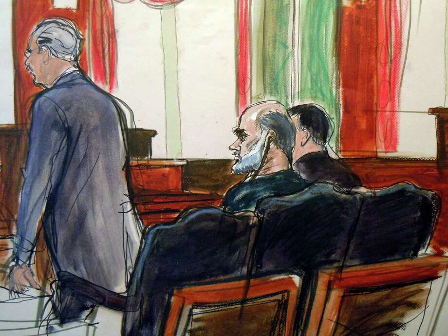 A courtroom sketch of Osama bin Laden's son-in-law, Sulaiman Abu Ghaith, center, who pleaded not guilty on Friday to conspiracy to kill Americans. Photo: Elizabeth Williams, FRE / FR 142054 AP