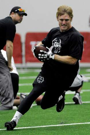 Texas A&M's Ryan Swope works out for NFL scouts at pro day Friday, March 8, 2013 in College Station, Texas. (AP Photo/Pat Sullivan) Photo: Pat Sullivan, Associated Press / AP