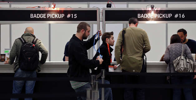 People pickup their badges for South by Southwest at the Austin Convention Center Friday March 8, 2013 in Austin, TX. Photo: Edward A. Ornelas, San Antonio Express-News / © 2013 San Antonio Express-News