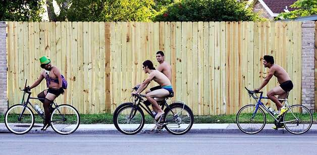 Cyclist ride during World Naked Bike Ride Day Saturday, June 9, 2012, in McAllen, Texas. The ride takes place annually internationally, including countries such as Australia, Brazil, France, the United Kingdom, Mexico and the United States. It aims to promote bicycle use and highlight the roadway risks that cyclists face.