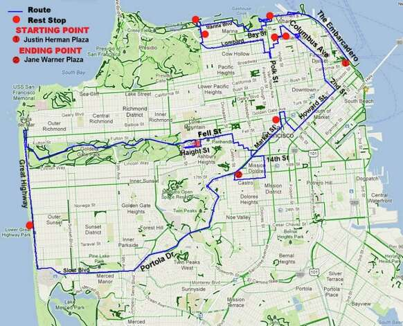The World Naked Bike Ride route in San Francisco for March 9, 2013.
