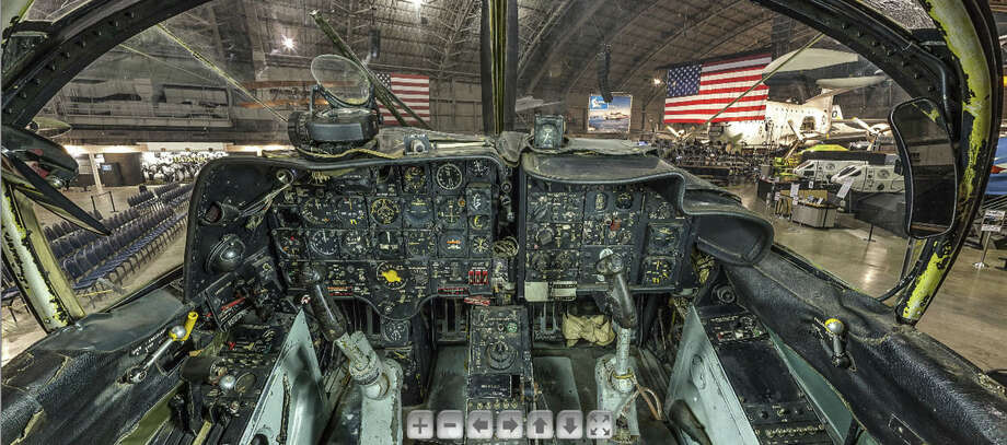 The cockpit of the Douglas A-1E Skyraider that Air Force Maj. Bernard Fisher on his Medal of Honor mission in March 1966. After Fisher's wingman, Maj. D. Wayne Myers, landed his damaged plane on a scarred and debris-strewn runway under enemy control, Fisher swooped out of an overcast sky and landed to rescue him. Photo: U.S. Air Force