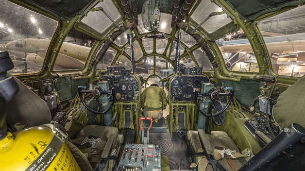 "The cockpit of the Boeing B-29 Superfortress ""Bockscar,"" which dropped the atomic bomb on Nagasaki, Japan. Photo: U.S. Air Force"