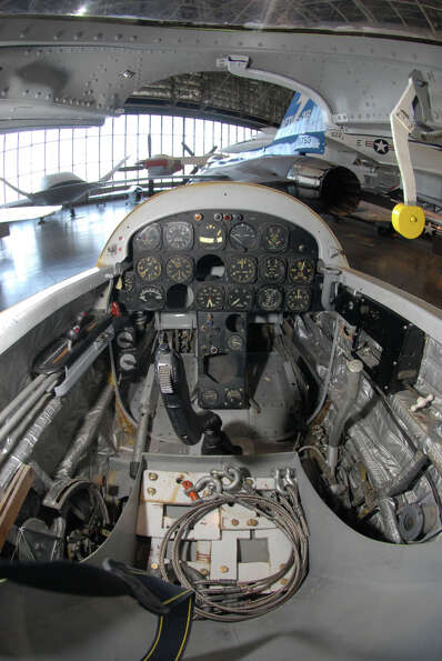 The cockpit of a Northrop X-4 Bantam.