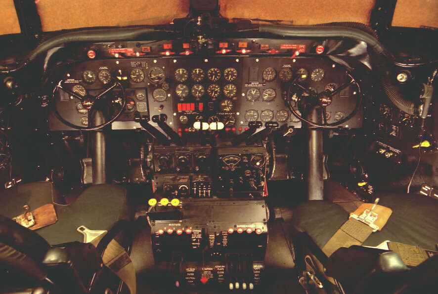 Douglas VC-54C 'Sacred Cow' cockpit. This was once the presidential airplane.
