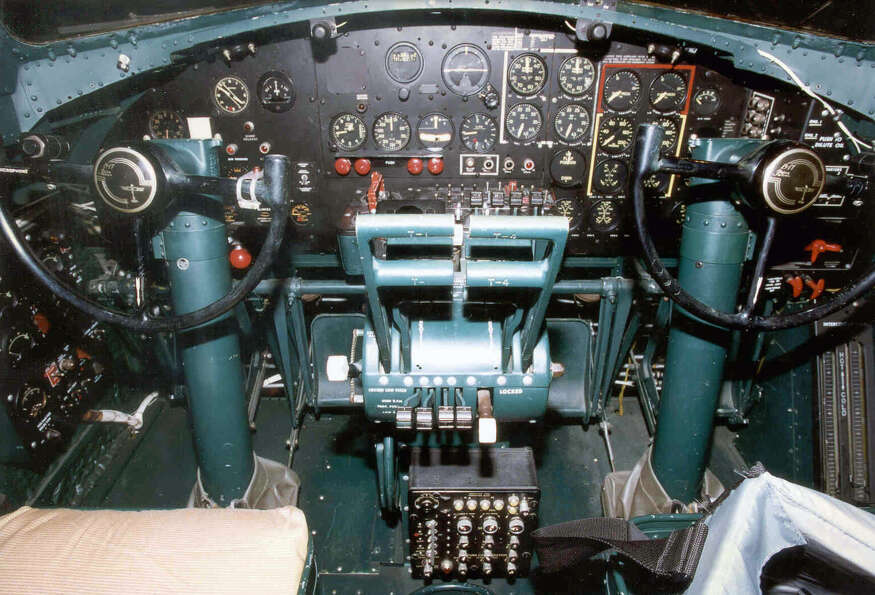 Boeing B-17G Flying Fortress cockpit.