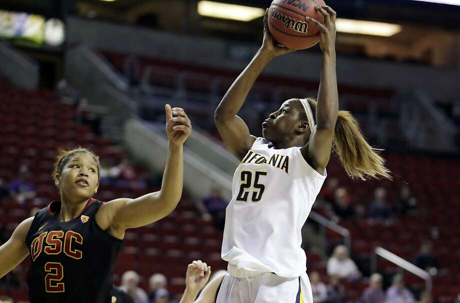 Cal's Gennifer Brandon (25), who puts up a shot against USC's Deanna Calhoun, had 17 points and 16 rebounds. Photo: Ted S. Warren, Associated Press