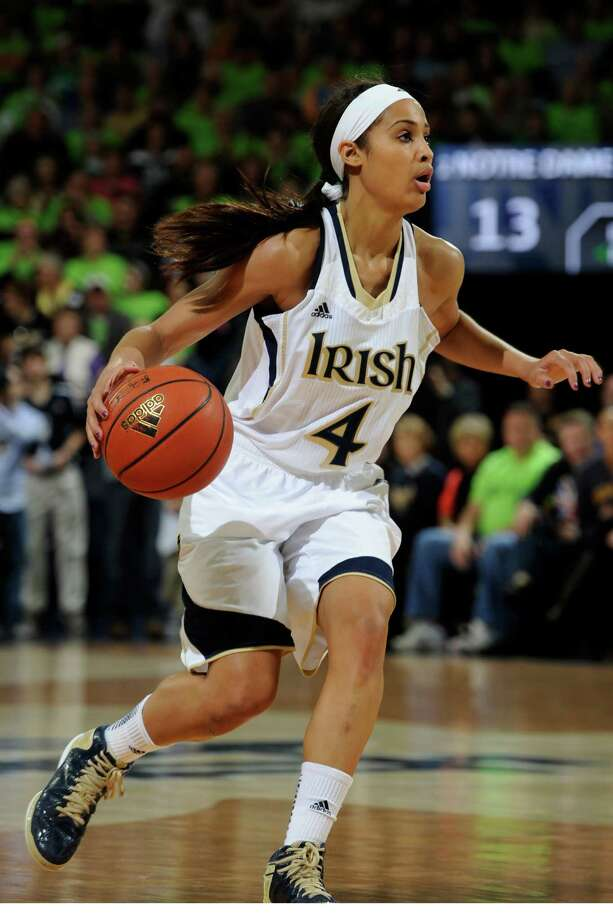 Notre Dame guard Skylar Diggins heads up court during a college basketball game with Connecticut Monday March 4, 2013 in South Bend, Ind. (AP Photo/Joe Raymond) Photo: Joe Raymond, Associated Press / FR25092 AP