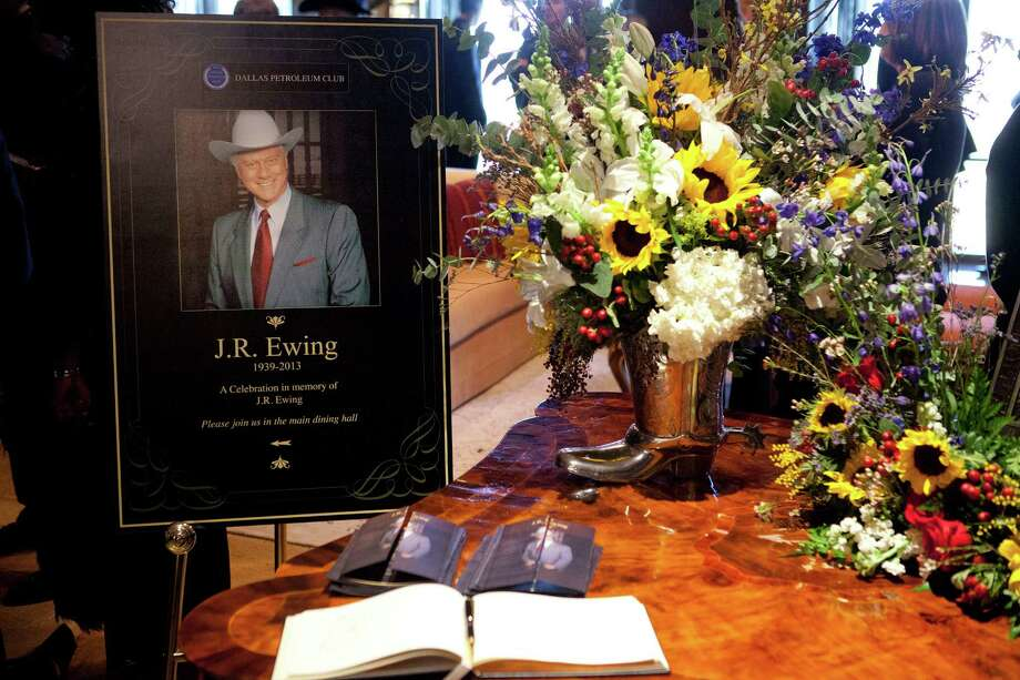 "This image released by TNT shows a funeral scene for the character J.R. Ewing, played by Larry Hagman, in an episode of ""Dallas,"" airing Monday at 9 p.m. EST on TNT. Hagman died of cancer at 81 the day after Thanksgiving.  (AP Photo/TNT, Skip Bolen) Photo: Skip Bolen, HOEP / TNT"