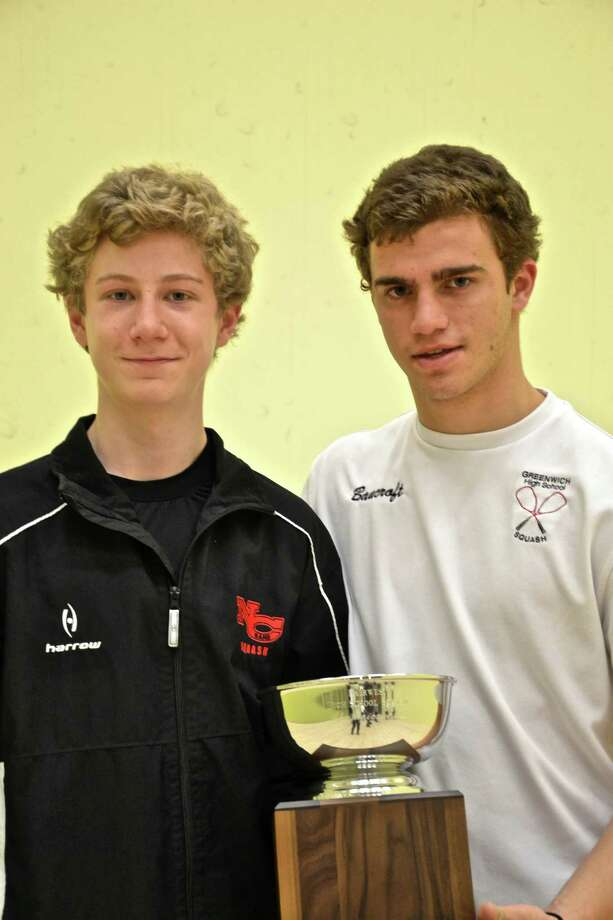 New Canaan squash captain Henry Greer and Greenwich captain Nicky Bancroft. Photo: Contributed Photo