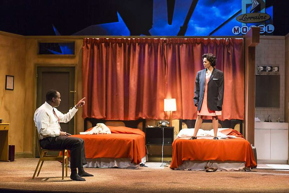 "Martin Luther King Jr. (Adrian Roberts, left) discusses drama with motel maid Camae (Simone Missick) in Katori Hall's ""The Mountaintop"" at TheatreWorks. Photo: Mark Kitaoka"