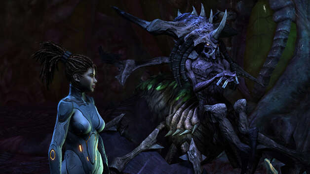"Sarah Kerrigan attempts to reunite the zerg swarm in ""StarCraft II: Heart of the Swarm."""