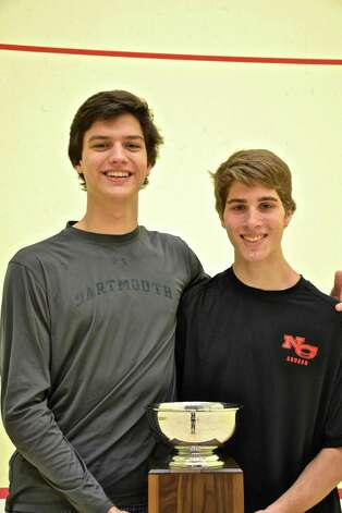 Robert Rohrbach and Killian Bubrosky, the No. 1 squash players for Greenwich and New Canaan High School respectively. Photo: Contributed Photo