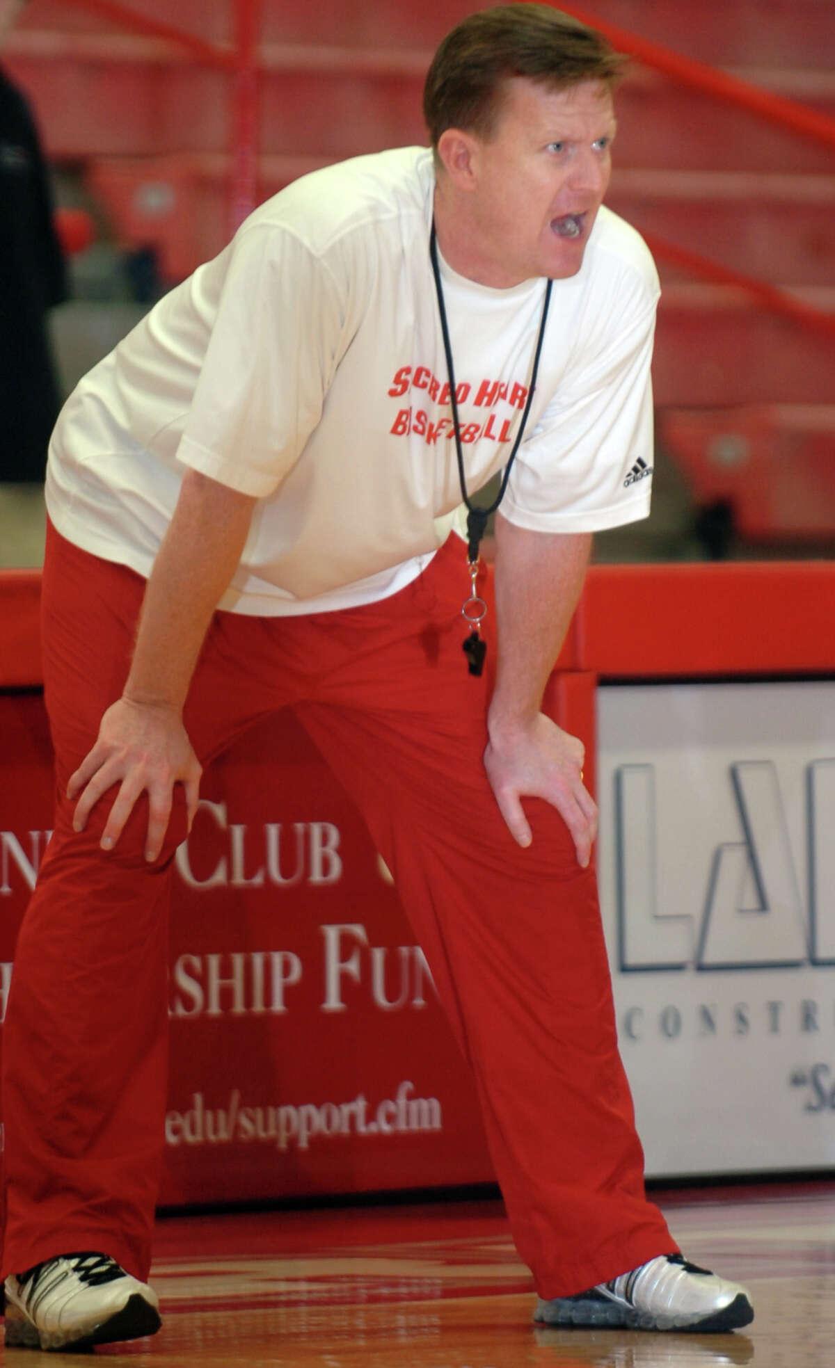 Sacred Heart University head women's basketball coach Ed Swanson at practice. 2/27/09