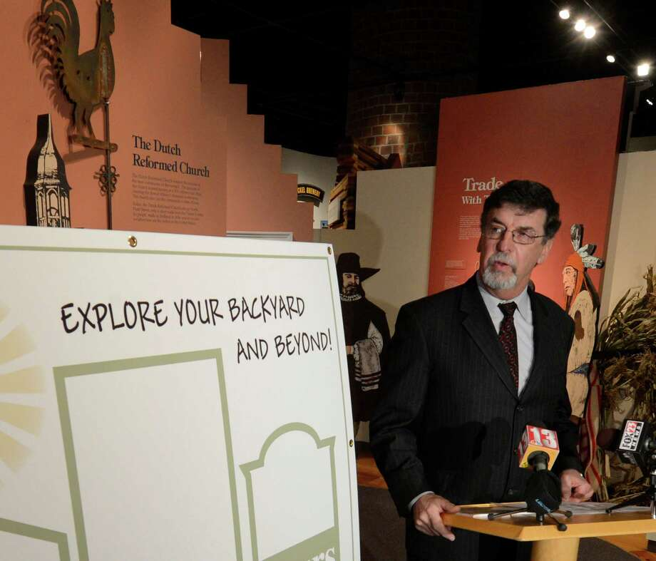 Former Aqua Ducks president Bob Wolfgang, is joined by representatives from Albany County Convention and Visitors Bureau and others to announce the new regional tourist initiative Harmony House Tours March 8, 2013 in Albany, N.Y. (Skip Dickstein/Times Union) Photo: SKIP DICKSTEIN / 10021488A