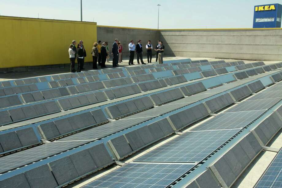 The photovoltaic system at Ikea, along Interstate 10 West, powers as much as 50 percent of the store's electricity usage. The system has 3,388 solar panels. Photo: Gary Fountain, Freelance / Copyright 2013 Gary Fountain.