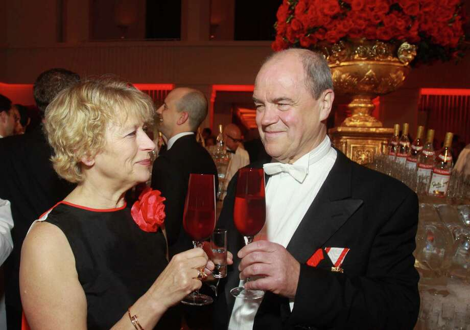 Houston Symphony Maestro Hans Graf and his wife, Margarita Graf, toasting at the big goodbye celebration. Graf, who has served as the Houston Symphony Orchestra's music director for 12 years. Photo: Gary Fountain, Freelance / Copyright 2013 Gary Fountain.
