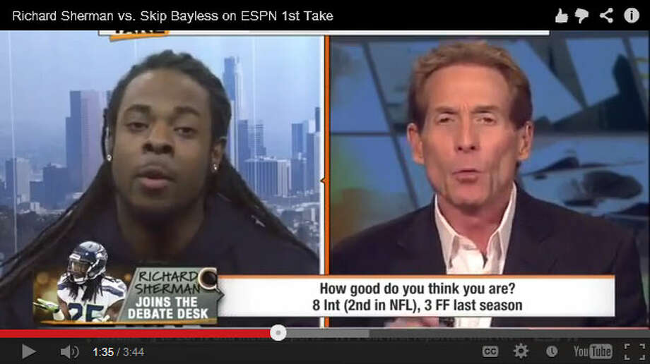 If you somehow missed it, you should probably go watch Richard Sherman face off with Skip Bayless on ESPN's ''First Take'' on Thursday. The whole sports world is talking about it. The Seahawks cornerback ripped into the opinionated host on live TV, and he didn't mince words. Here's a sample:''I am intelligent enough, capable enough, to understand that you are an ignorant, pompous, egotistical cretin,'' Sherman told Bayless. ''And that's what it comes down to. And I'm going to crush you on here, in front of everybody, because I'm tired of hearing about it.''As you might imagine, there are many -- many -- sports fans and pundits talking about the Sherman-Bayless showdown. Click through the gallery for a sampling of what people are saying.(Watch Sherman and Bayless duke it out on ESPN.)