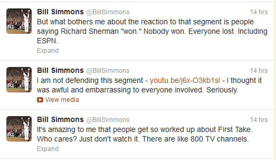 ESPN's Bill Simmons on Twitter ESPN is a large company, so there are lots of personalities with differing opinions -- but they usually don't comment on the company itself or its programming. But ESPN's Bill Simmons apparently couldn't resist, putting down the Sherman-Bayless segment and distancing himself from ''First Take.''