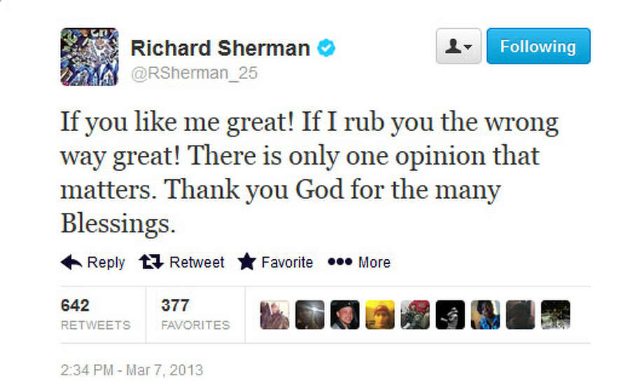 Richard Sherman on TwitterThe Seahawks cornerback himself took to Twitter after his ESPN appearance, and as always was unapologetic. Sherman also, of course, retweeted plenty of tweets from people who sided with him.