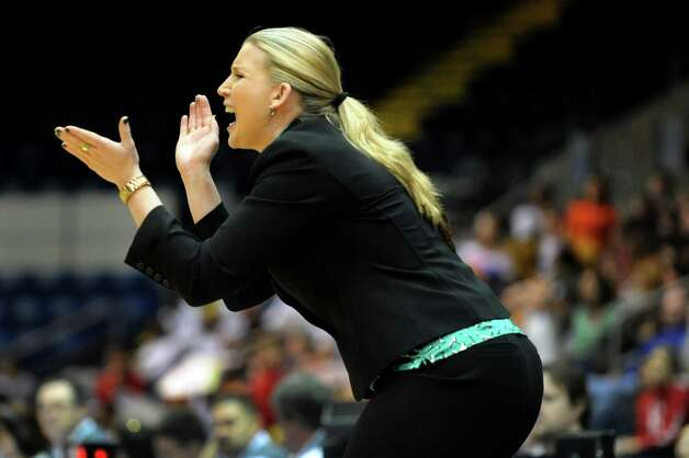 Siena's coach Ali Jaques cheers on her team during their quarterfinal MAAC Championship basketball game against Fairfield on Friday, March 8, 2013, in Springfield, Mass. (Cindy Schultz / Times Union) Photo: Cindy Schultz / 10021489A