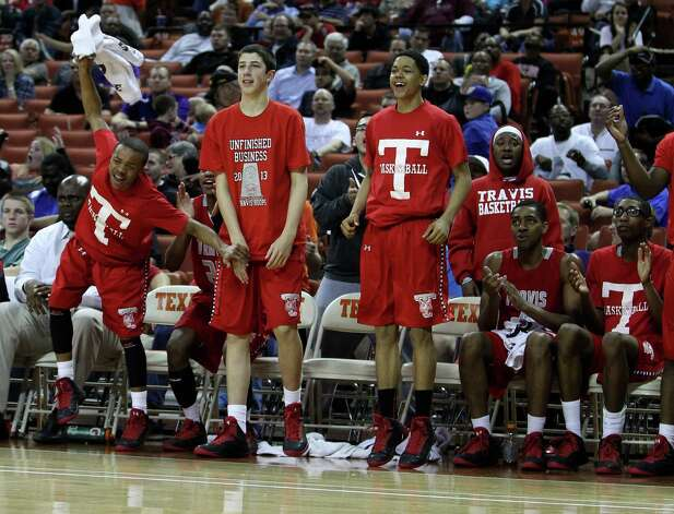 Travis' bench reacts as they pulled ahead against Berkner during the second half. Photo: Karen Warren, Houston Chronicle / © 2013 Houston Chronicle