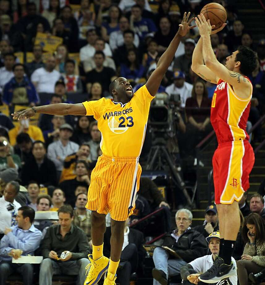 Golden State Warriors forward Draymond Green (23) guards Houston Rockets Carlos Delfino (10) in the first half of their NBA basketball game Friday, March 8, 2013, in Oakland Calif. Photo: Lance Iversen, The Chronicle