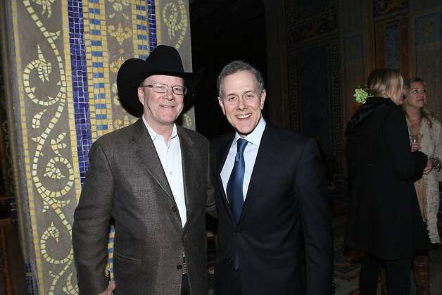 "Steve Hearst, VP/general manager of Hearst's Western Properties (left) and Hearst President Steve Swartz. Documentary film ""Citizen Hearst"" made its West Coast premiere at Hearst Castle on Friday, March 8, as part of the San Luis Obispo International Film Festival. Starting Monday, March 11, the film, directed by Leslie Iwerks, will screen in select theaters nationwide. Details on screenings at www.citizenhearst.com. Photo: Maury Phillips/Hearst Corporation"