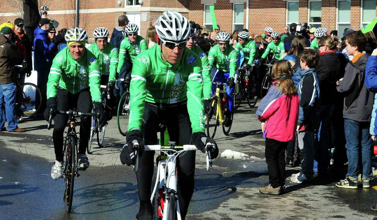 Team 26 and supporting riders leave Reed Intermediate School in Newtown, Conn. Saturday, March 9, 2013 on the Sandy Hook Ride to Washington, D.C., to support gun control legislation.