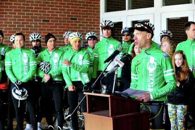 Monte Frank, who organized the Team 26 Sandy Hook Ride to Washington, D.C., to support gun control legislation, speaks while preparing to leave Reed Intermediate School in Newtown, Conn. Saturday, March 9, 2013 Photo: Michael Duffy / The News-Times