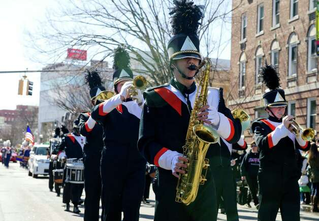 A marching band performs during Saturday's Saint Patrick's Day parade in Stamford, Conn., on March 9, 2013. Photo: Lindsay Perry / Stamford Advocate