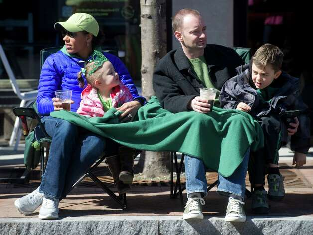 Spectators gather to watch Saturday's Saint Patrick's Day parade in Stamford, Conn., on March 9, 2013. Photo: Lindsay Perry / Stamford Advocate