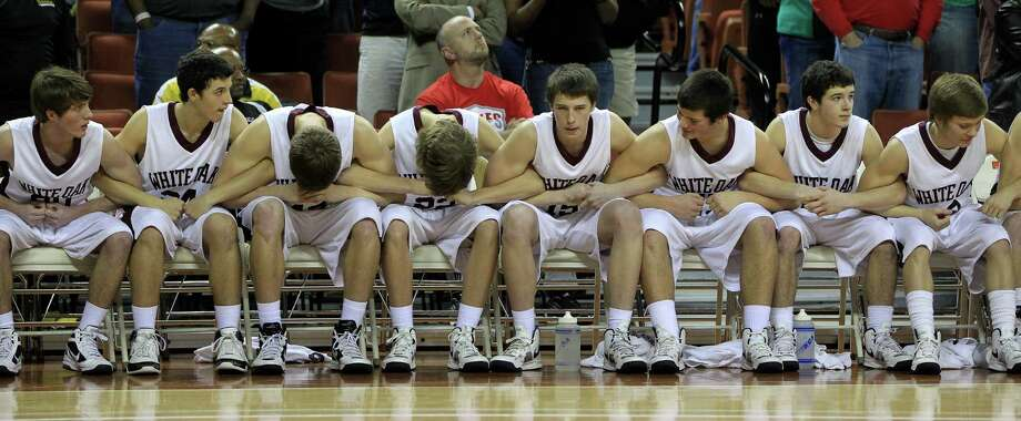 White Oak's bench react as Brock got the ball with two seconds remaining during the second half of the UIL 2A boys state basketball final game between White Oak and Brock at the Frank Erwin Center, Saturday, March 9, 2013, in Austin.  White Oak won the game 56-54. Photo: Karen Warren, Houston Chronicle / © 2013 Houston Chronicle