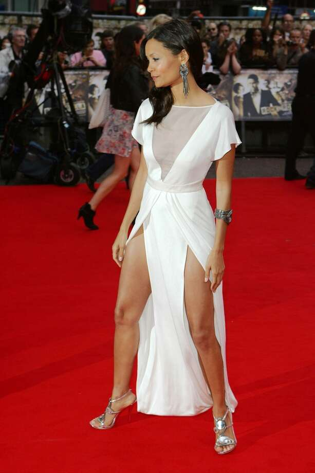 Of course, the white towel between the legs is a great way to show off both thighs. (Thandie Newton, London).