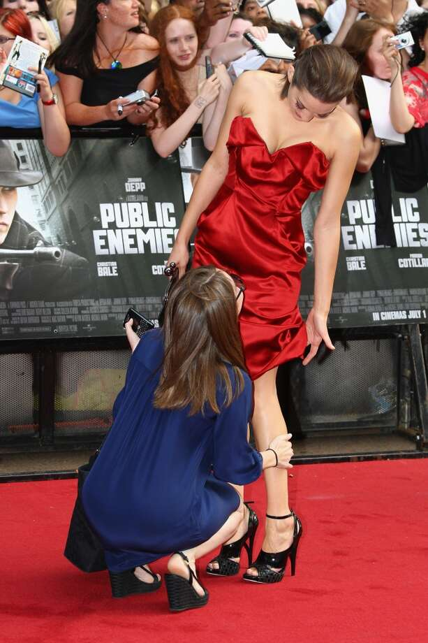 The culprit that caused this scene with Marion Cotillard at the premiere of ''Public Enemies?'' A mark on her leg.