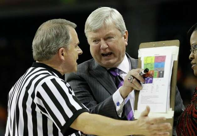 Texas A&M coach Gary Blair argues with an official during the first half of an NCAA college basketball game against Tennessee in the Southeastern Conference women's tournament, Saturday, March 9, 2013, in Duluth, Ga. Texas A&M won 66-62.  (AP Photo/John Bazemore) Photo: John Bazemore, Associated Press / AP