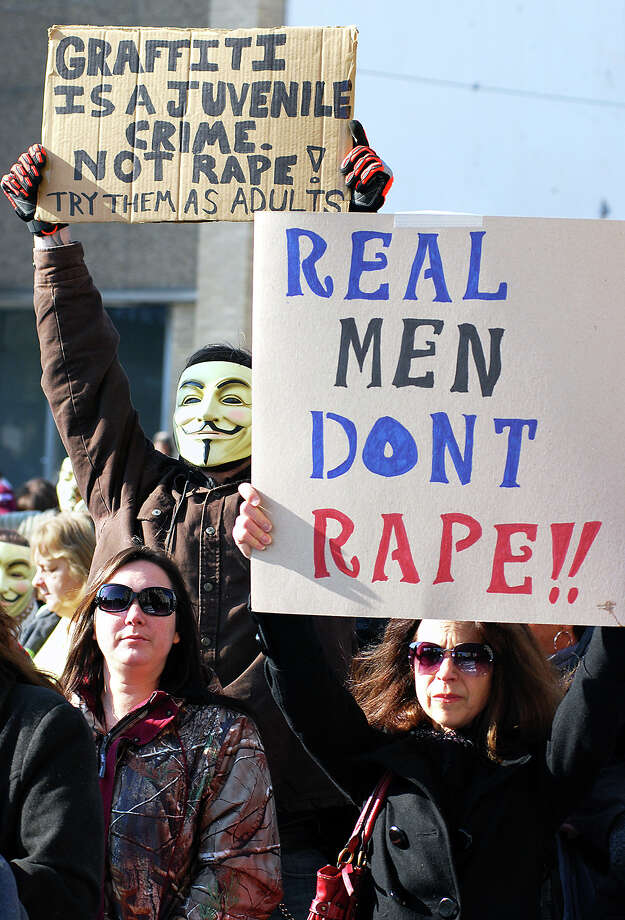Activists earlier this year protest the handling of the Steubenville rape case by prosecutors. Photo: Michael D. McElwain, MBR / The Herald-Star