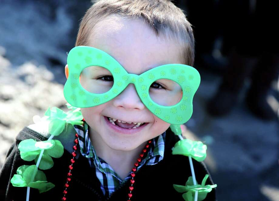 Five-year-old David Siemers, of Milford, is decked out in green during the annual St. Patrick's Day Parade in downtown Milford, Conn. Saturday, Mar. 9, 2013. Photo: Autumn Driscoll / Connecticut Post