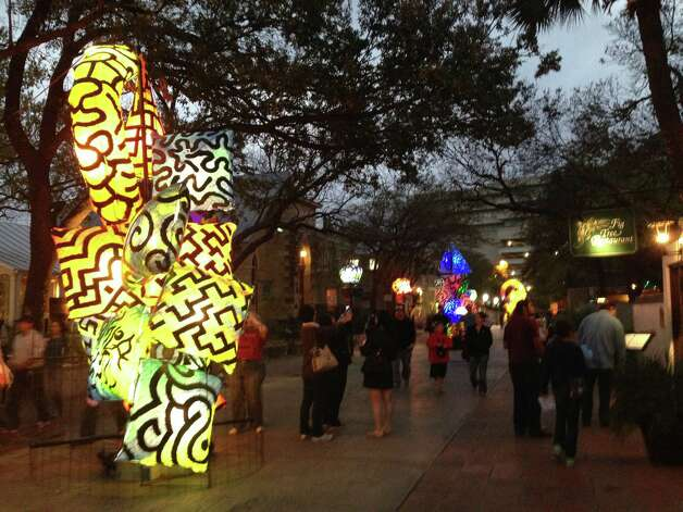 La Villita is lit by sculptures by Charles Harrison-Pompa during Luminaria on Saturday, March 9, 2013. Photo: Benjamin Olivo / MySA.com