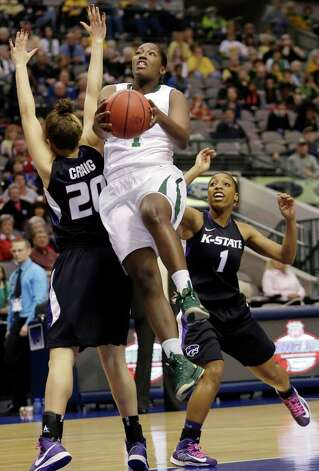 Baylor's Kimetria Hayden (1) shoots against Kansas State's  Bri Craig (20) and Haley Texada during the first half of an NCAA college basketball game in the Big 12 Conference tournament Saturday March 9, 2013, in Dallas. (AP Photo/LM Otero) Photo: LM Otero, Associated Press / AP