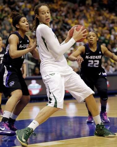 Baylor center Brittney Griner (42) drives against Kansas State's Chantay Caron (11) as teammate Mariah White (22) looks on during the first half of an NCAA college basketball game in the Big 12 Conference tournament Saturday March 9, 2013, in Dallas. (AP Photo/LM Otero) Photo: LM Otero, Associated Press / AP