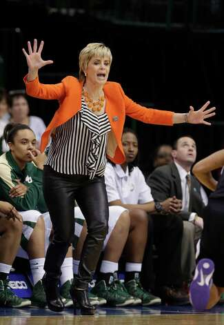 Baylor head coach Kim Mulkey yells from the sideline during the first half of an NCAA college basketball game against Kansas State in the Big 12 Conference tournament Saturday March 9, 2013, in Dallas. Baylor won 80-47. (AP Photo/LM Otero) Photo: LM Otero, Associated Press / AP