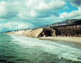 TRAVEL-SANTA BARBARA -- Amtrak's Coast Starlight hugs the coastal bluffs along Santa Barbara County's Gaviota coast, often called the American Riviera. Courtesy of Amtrak National Railroad Passenger Corp.