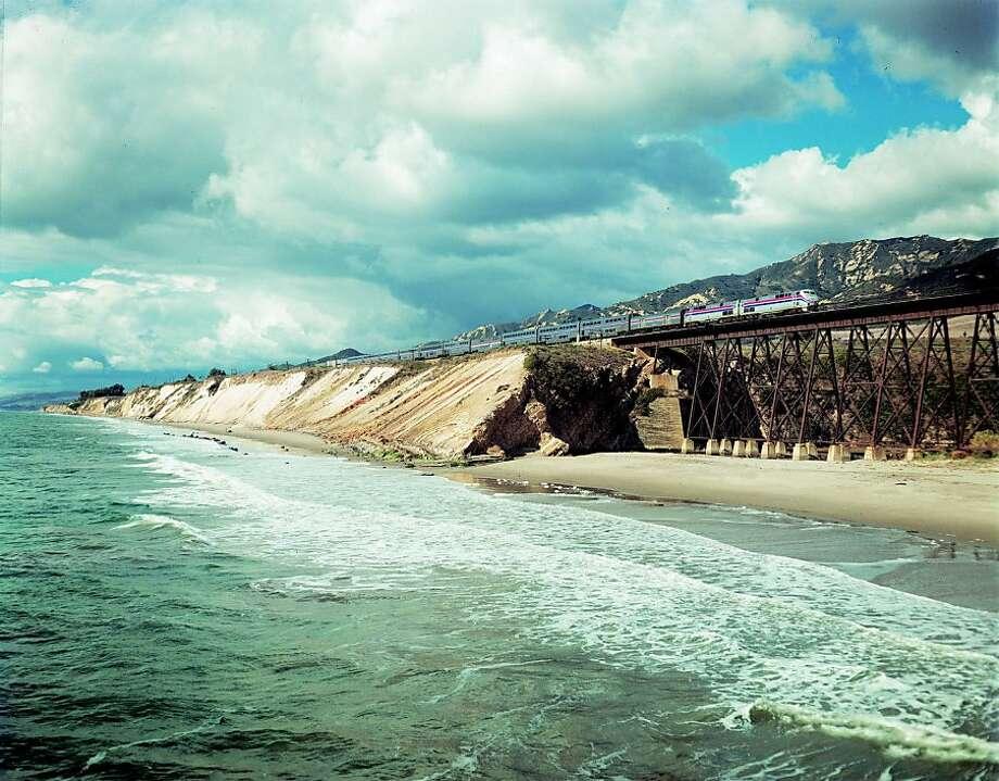 Amtrak's Coast Starlight hugs the bluffs along Santa Barbara County's Gaviota Coast on the way to L.A.